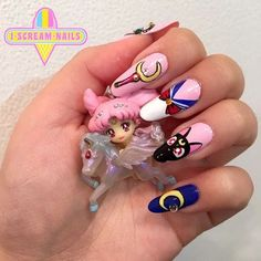 Nawwww Sailor Moon nails by Giselle in the Sydney salon ✨🌙 Email us for appointments this wee Gorgeous Nails, Love Nails, Pretty Nails, Kawaii Nail Art, Cute Nail Art, Sailor Moon Nails, Anime Nails, Manicure E Pedicure, Long Acrylic Nails
