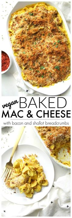 Creamy, decadent and topped with a bacon and shallot breadcrumb crust, this is the Best Baked Vegan Mac and Cheese. Ready in less than an hour! | ThisSavoryVegan #vegan #macandcheese