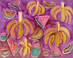 """Island Living Katherine Bernhardt unveils her latest work, """"Pablo and Efrain,"""" at Venus Over Manhattan."""