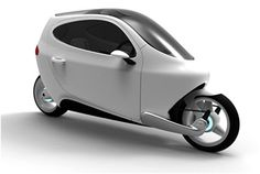 """Described as a """"motorbike-car"""" hybrid, the Lit C-1 two wheeler uses a set of futuristic electronic gyroscopes to ensure it remains upright and balanced."""