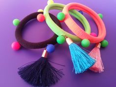 Three Girls' Hair Band and Bracelet Set Beads Seamless Hair Ropes Ties Bracelet with Tassels Mix Fluorescence Colors Gift