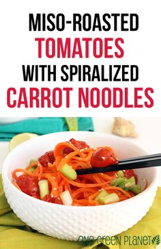 Miso Roasted Tomatoes and Spiralized Carrot Noodles http://onegr.pl/1kRLwZX #vegan #healthy #recipe