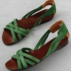 green suede on these sandals by Chie Mihara.