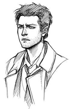 """doromon: """" Sketches of attractive people. Why is Castiel is so hard to draw tho"""" Sketches Of People, Drawing People, Art Sketches, Art Drawings, Realistic Drawings, Supernatural Drawings, Supernatural Fan Art, Castiel, Face Sketch"""