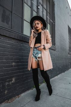 California Winters \ PAUDICTADO \ Denim Shorts \ Machine Jeans \ Camel Coat \ Ripped Shorts \ Wide Brim Hat \ Over The Knee Boots