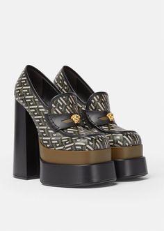 Versace, Black Khakis, Bold Fashion, Loafers For Women, Color Negra, Platform Shoes, Calf Leather, Block Heels, Calves