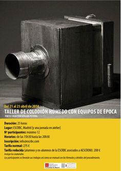 Afiche del primer workshop de colodión húmedo de Atelier Petzval en Madrid. Madrid, Workshop, Tools, April 25, Atelier, Appliance, Vehicles