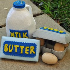 Felt Food Refrigerated Set- Gallon of Milk, Butter and Eggs. $36.00, via Etsy.