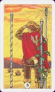 """Three of Wands - A man with two wands, holding a third, looks out to sea, waiting. Sometimes there are boats on the horizon. This is the card of """"waiting for the ships to come in."""" It is a card of progress, of the first hint that the dream can be made real."""