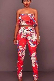 37c1b3df20 Red Floral Print Strapless Ruffle Crop Top Pants Suit. Backless JumpsuitStrapless  ...