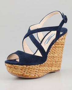 beach beach let's go to the beach.  Prada Suede Crisscross Wicker Wedge Sandal - Neiman Marcus