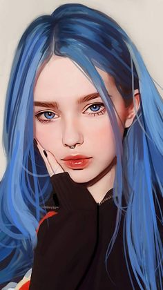 Blue Hairs Girl IPhone Wallpaper - IPhone Wallpapers