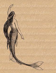 Mermaid Vintage Merwoman Merfolk Siren Water by phraseandfable, Mermaid Beach, Mermaid Art, Tattoo Mermaid, Vintage Mermaid Tattoo, Tattoo Vintage, Mermaid Paintings, Mermaid Tails, Sirene Tattoo, Nautique Vintage