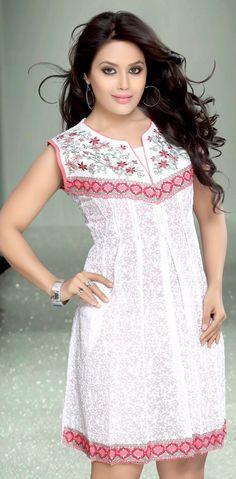 Exclusive Look Party Wear White Color #Designer #Kurti