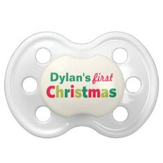 Adorable baby's 1st Christmas pacifier with custom text for baby's first name. Makes a great holiday gift item for new mothers. Festive and modern green, red & lime colors are perfect for a baby boy or girl!
