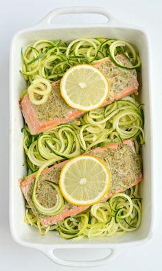 Lemon Herb Salmon Zucchini - zucchini, salmon, dried parsley, oregano, thyme, rosemary, minced garlic, Dijon mustard, olive oil, lemon juice, salt & pepper, sliced lemons (for topping)