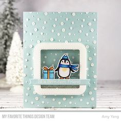 Stamps: Polar Pals, Happy Pawlidays Die-namics: Polar Pals, Happy Pawlidays, Blueprints 27, Stitched Rounded Square Frames Stencils: Snowfall Amy Yang #mftstamps