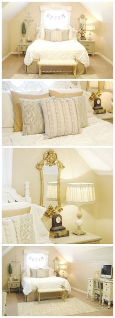 Gorgeous Master Bedroom Makeover - Love the neutrals and gold accents! | http://www.classyclutter.net