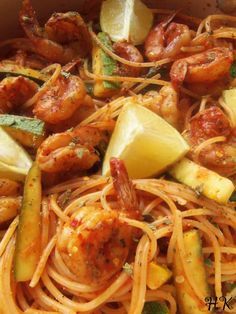 This chile de arbol shrimp and pasta is a fusion of Mexican and Asian ingredients. You can skip the chile and still enjoy this non-spicy pasta recipe! Seafood Recipes, Pasta Recipes, Mexican Food Recipes, Shrimp Dishes, Pasta Dishes, Kitchen Recipes, Cooking Recipes, Hispanic Kitchen, Mexican Dishes