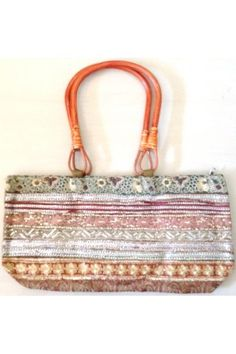#Embroidered And #Silver Worked Striped Hand Bag:  This Embroidered And Silver Worked Striped Hand Bag brings you a combination of style and functionality.  A spacious bag to carry your everyday essentials while on the move.