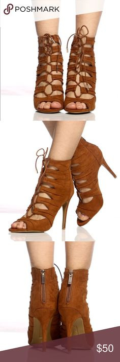 • Lace Up Heels • Lace up heels are my favorite type of heels, you can complete a casual outfit to a glamorous look with this pair! It features cognac faux suede, lace up front, open toe, back zipper closure, & cushioned insole. I'm modeling size 7.  • True to size • Heel height: 4 1/4 inches  • Ask all questions prior to purchase • Bundle & save  • Feel free to make your best offer! Shoes Heels