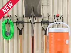 Tool and Sports Rack | Shed Accessories | Outdoor Storage | Rubbermaid Shed Organization, Shed Storage, Organizing, Rubbermaid Shed, Sport Rack, Tidy Up, Sheds, Outdoor Storage, Backyard Ideas