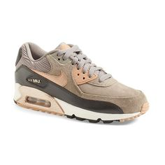 Nike 'Air Max 90' Sneaker ($120) ❤ liked on Polyvore featuring shoes, sneakers, real leather shoes, lace up sneakers, metallic leather shoes, nike and leather shoes
