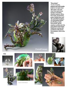 "she wrote: I thought I'd just post my latest objet d'art piece, ""Elucidate"" and the work in progress/detail pics I took as I created it. #polymer #objetDart #vessel #artVessel #insect #gemstone #resin #flower #flora #sculpture #christifriesen"