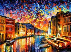 To keep the memories about the Venice Grand Canal fresh in your memory, consider an Italy cityscape by Leonid Afremov. This painting on canvas is a great option for travelers and dreamers. Title: Venice Grand Canal Size: Variable Condition: Excellent Brand new Gallery Estimated Value: $18,500 Type: Original Recreation Oil Painting on Canvas by Leonid Afremov This is a recreation of a piece which was already sold. Its not an identical copy, its a recreation of an old subject. This recreat...