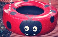 We love this tire swing. It's easy to be done! Just paint some big black dots and attach some chains properly for extra safety