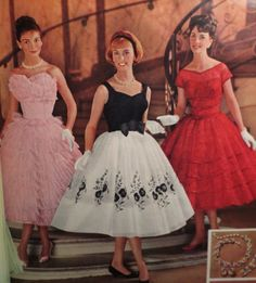 1959 party dress black white red pink full skirt lace floral ruffles short sleeves summer late 50s early 60s era classic photo print ad models two tone bow
