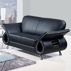 Global Furniture USA Charles Black Leather Loveseat in Black