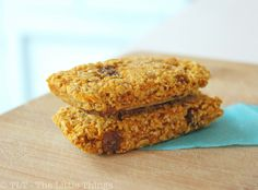 Carrot Cake Bars: Mix     1 cup rolled oats,      1/2 cup of water,      about ½ cup grated carrots,      2 TBSP raisins,      2 TBSP grated coconut,      ½ tsp cinnamon,      pinch salt,      honey (to taste, optional).  Add 1/2 cup water until everything is well combined.  Mixture should be a very thick batter.  Press in parchment lined 8 x 8.  Bake 20-25 min @ 380 til top is slightly browned. Cool & cut in slices. gm