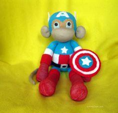 Captain Sock Monkey  Handmade SuperHero Doll medium