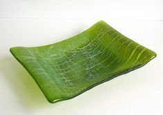 Fused Glass Crackle Dish in Spring Green and French by bprdesigns