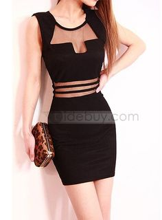 4a796ad038c3db Unique Style Split Joint Solid Color Slim Sleeveless Dress