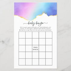 Rainbow and Gold Agate Boy Baby Shower Bingo Baby Bingo, Baby Shower Bingo, Shower Party, Baby Shower Parties, Bingo Games, Card Games, Holiday Cards, Christmas Cards, Christmas Card Holders
