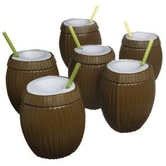 Set Tiki 16oz Coconut (White) Tropical Travel Tumbler Cup Plastic Drinking Glass & Straw BPA Free Plastic Reusable (Pack of 6)