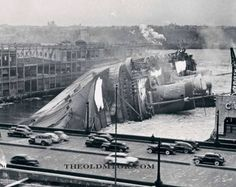 THE S.S. NORMANDIE BURNS AND CAPSIZES IN NYC. On Feb 9, 1942 The S.S. Normandie caught fire and rolled over while moored at Pier 88 at W49 Street. Reportedly, sparks from a welding torch caused the blaze. I have heard other theories as to who was responsible, including the Nazis and Lucky Luciano.