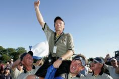 In 2004, Germany's Bernhard Langer captained Europe to its record victory on US soil. At the Oakland Hills Country Club in Michigan, Langer's men led from start to finish. The first session of fourballs set the tone, as Europe registered 3 ½ out of a possible 4 points. Leading 11–5 as they headed into Sunday, Europe was pegged back by Tiger Woods' victory in the first singles match. But the feared American onslaught never materialized and Europe coasted home by nine points, 18 ½ - 9 ½. #RyderCup