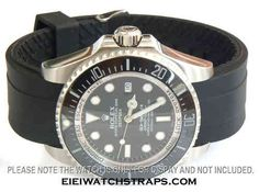 22mm Heavy Duty Marine II Silicon Rubber Divers Watch strap with curved lugs For Rolex Watches