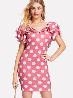 Shop Layered Flutter Sleeve Low Back Polka Dot Dress online. SheIn offers Layered Flutter Sleeve Low Back Polka Dot Dress & more to fit your fashionable needs. Dot Dress, Pink Dress, Evening Dresses, Summer Dresses, Party Dresses, Latest Dress, Pink Fashion, Types Of Sleeves, Flutter Sleeve