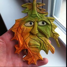 Wood Carved leaf spirit