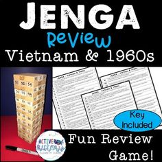 This is a fun review for Vietnam and the 1960's using the game Jenga! You could use this in groups, as a station activity, or as a whole class review. Great way to add a little competition to your class reviews!  #ushistory #reviewgames #EOCReview