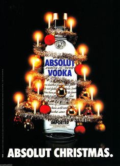 ABSOLUT CHRISTMAS VODKA AD 1982 ORIGINAL MAGAZINE AD FOREIGN
