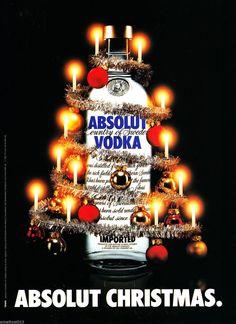 ABSOLUT CHRISTMAS VODKA AD 1982 ORIGINAL MAGAZINE AD FOREIGN