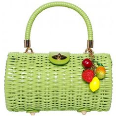 PINUP COUTURE LIME OLIVE WICKER BAGUETTE PURSE