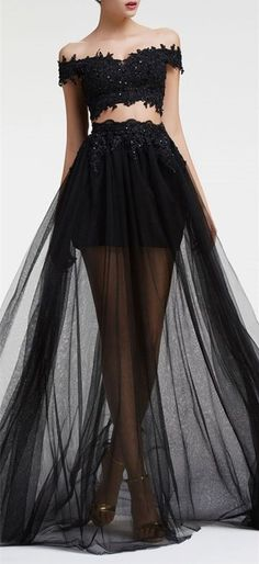 2016 Custom charming Black Lace Beading Prom Dress ,Sexy Off The Shoulder Evening Dress,Sexy See through Prom Dress