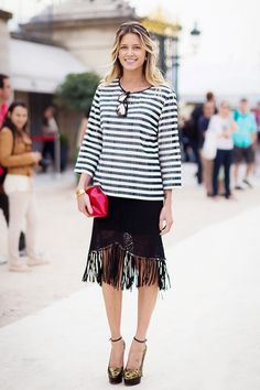 striped tee + fringe skirt + t-strap heels
