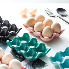 6 Grids Egg Holder Ceramic Anti-Slip Egg Box Refrigerator | Etsy Ceramic Egg Holder, Ceramic Mugs, Kitchen Labels, Kitchen Gifts, Kitchen Ideas, Storing Eggs, Egg Storage, Storage Racks, Kitchen Storage